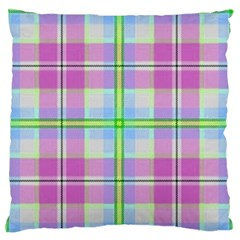 Pink And Blue Plaid Large Flano Cushion Case (one Side)