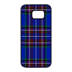 Bright Blue Plaid Samsung Galaxy S7 Edge Black Seamless Case by allthingseveryone