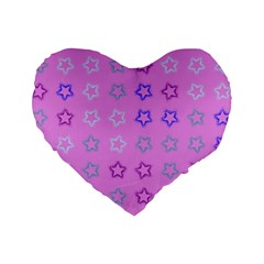 Spray Stars Pattern C Standard 16  Premium Heart Shape Cushions by MoreColorsinLife