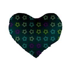 Spray Stars Pattern F Standard 16  Premium Heart Shape Cushions by MoreColorsinLife
