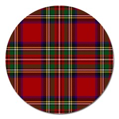Red Tartan Plaid Magnet 5  (round) by allthingseveryone