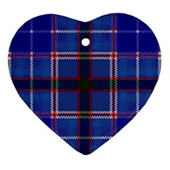 Blue Heather Plaid Ornament (heart) by allthingseveryone
