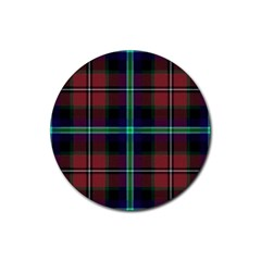 Purple And Red Tartan Plaid Rubber Coaster (round)  by allthingseveryone