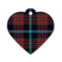 Purple And Red Tartan Plaid Dog Tag Heart (one Side)