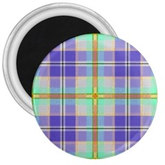 Blue And Yellow Plaid 3  Magnets by allthingseveryone