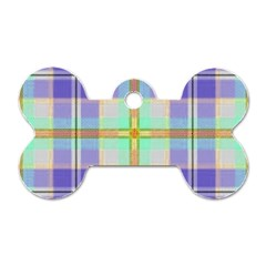 Blue And Yellow Plaid Dog Tag Bone (one Side) by allthingseveryone