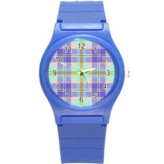 Blue And Yellow Plaid Round Plastic Sport Watch (s) by allthingseveryone