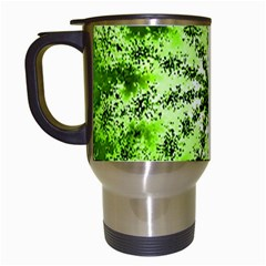Lime Green Starburst Fractal Travel Mugs (white) by allthingseveryone