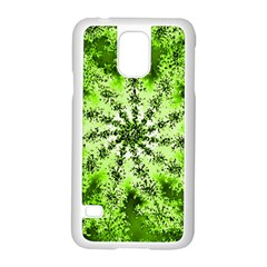 Lime Green Starburst Fractal Samsung Galaxy S5 Case (white) by allthingseveryone