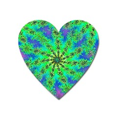 Green Psychedelic Starburst Fractal Heart Magnet by allthingseveryone