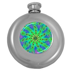 Green Psychedelic Starburst Fractal Round Hip Flask (5 Oz) by allthingseveryone