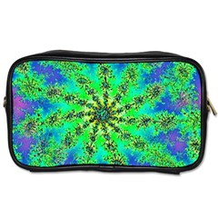 Green Psychedelic Starburst Fractal Toiletries Bags 2 Side by allthingseveryone