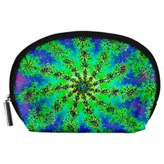 Green Psychedelic Starburst Fractal Accessory Pouches (large)  by allthingseveryone