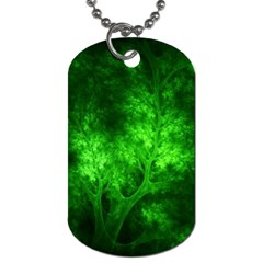 Artsy Bright Green Trees Dog Tag (one Side)