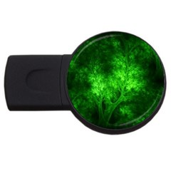 Artsy Bright Green Trees Usb Flash Drive Round (2 Gb) by allthingseveryone