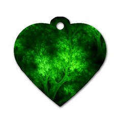 Artsy Bright Green Trees Dog Tag Heart (one Side)