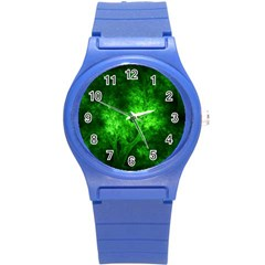 Artsy Bright Green Trees Round Plastic Sport Watch (s) by allthingseveryone