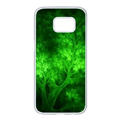 Artsy Bright Green Trees Samsung Galaxy S7 Edge White Seamless Case