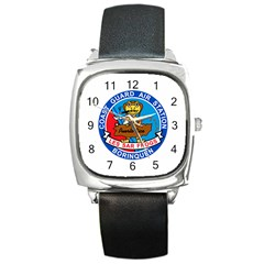 Coast Guard Air Station Borinquen Puerto Rico Square Leather Watch by allthingseveryday