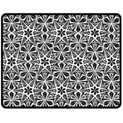 Star With Twelve Rays Pattern Black White Fleece Blanket (medium)  by Cveti