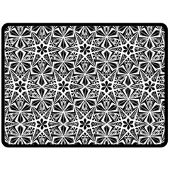 Star With Twelve Rays Pattern Black White Double Sided Fleece Blanket (large)  by Cveti