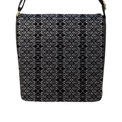 Black And White Ethnic Pattern Flap Messenger Bag (l)  by dflcprints