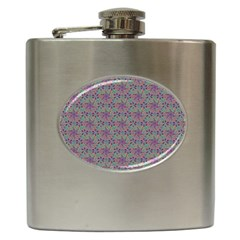 Flower Kaleidoscope Hand Drawing 2 Hip Flask (6 Oz) by Cveti
