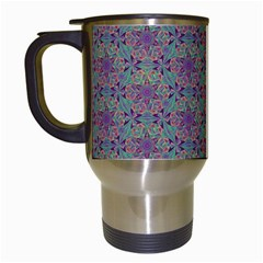 Flower Kaleidoscope Hand Drawing 2 Travel Mugs (white) by Cveti