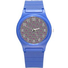 Flower Kaleidoscope Hand Drawing 2 Round Plastic Sport Watch (s) by Cveti