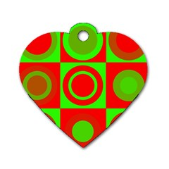 Redg Reen Christmas Background Dog Tag Heart (two Sides)