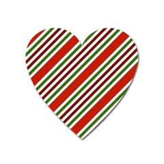 Christmas Color Stripes Heart Magnet by Celenk