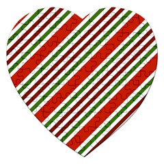 Christmas Color Stripes Jigsaw Puzzle (heart) by Celenk