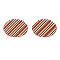 Christmas Color Stripes Cufflinks (oval) by Celenk