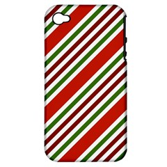 Christmas Color Stripes Apple Iphone 4/4s Hardshell Case (pc+silicone) by Celenk