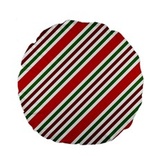 Christmas Color Stripes Standard 15  Premium Flano Round Cushions