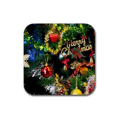 Decoration Christmas Celebration Gold Rubber Coaster (square)  by Celenk