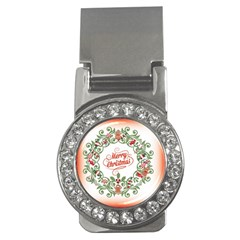 Merry Christmas Wreath Money Clips (cz)  by Celenk