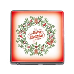 Merry Christmas Wreath Memory Card Reader (square) by Celenk