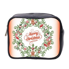 Merry Christmas Wreath Mini Toiletries Bag 2 Side by Celenk