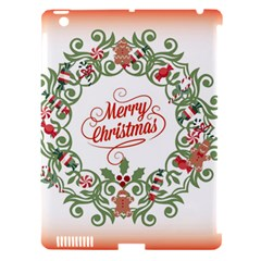 Merry Christmas Wreath Apple Ipad 3/4 Hardshell Case (compatible With Smart Cover) by Celenk