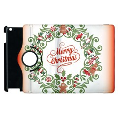 Merry Christmas Wreath Apple Ipad 3/4 Flip 360 Case by Celenk