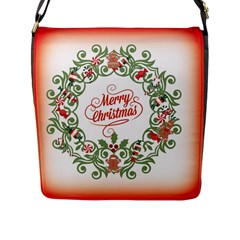 Merry Christmas Wreath Flap Messenger Bag (l)  by Celenk
