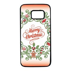 Merry Christmas Wreath Samsung Galaxy S7 Black Seamless Case by Celenk