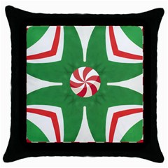 Candy Cane Kaleidoscope Throw Pillow Case (black) by Celenk