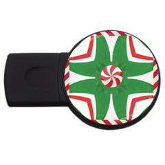 Candy Cane Kaleidoscope Usb Flash Drive Round (4 Gb) by Celenk