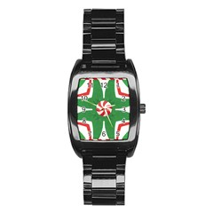 Candy Cane Kaleidoscope Stainless Steel Barrel Watch by Celenk