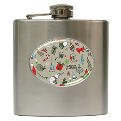 Beautiful Design Christmas Seamless Pattern Hip Flask (6 Oz) by Celenk