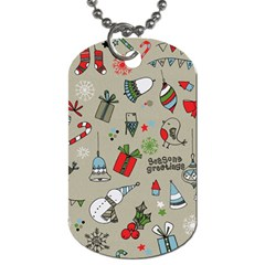 Beautiful Design Christmas Seamless Pattern Dog Tag (two Sides) by Celenk