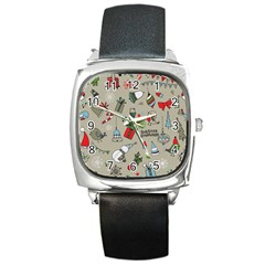 Beautiful Design Christmas Seamless Pattern Square Metal Watch by Celenk