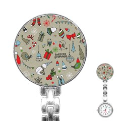 Beautiful Design Christmas Seamless Pattern Stainless Steel Nurses Watch by Celenk